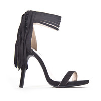 Suede Fringe Heels In Black