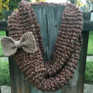Oversized Hand Knit Infinity Scarf With Detachable Bow--brown, orange, and cream