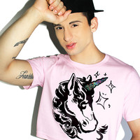 Horny Unicorn Crop Tee- Pink