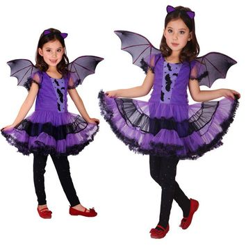 Summer Girls Purple Bat Cosplay Costume with Wing and Headwear Kids Angel Witch Carnival Fancy Masquerade Party Tutu Dresses
