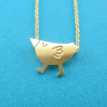 Cute Little Twitter Happy Bird Shaped Pendant Necklace in Gold