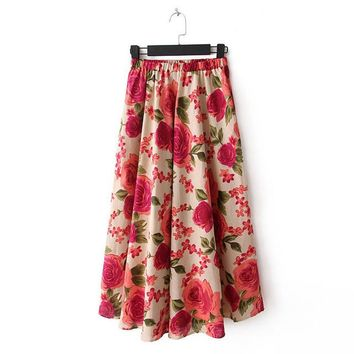 2017 New Women Summer Skirt Long Floral skirts Female Fashion Bohemia Plus Size Faldas Hot Sale 72423