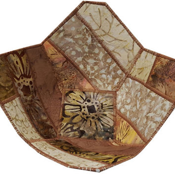 Decorative Bowl in Brown Batik Fabrics, Reversible