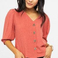 Catalina Crop Button Up in Rust