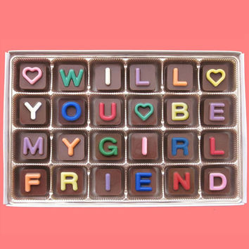 Will You Be My Girlfriend Chocolate Message Women's Gift for Her Ask Luxury Idea Cute Love Unique Funny Valentines Day Gift Jelly Bean Cube
