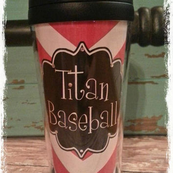 Personalized Custom Blingy Chevron Baseball Team Insulated Tumbler