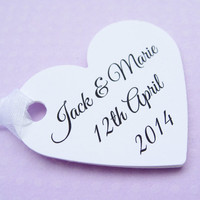 12 Personalised Heart Tags - Customized Wording - Wedding, Wishing Tree, Favors, Table Decor