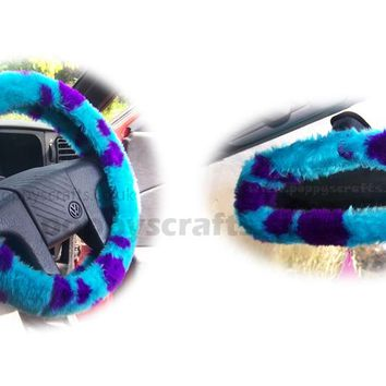 Sully Monster spot fuzzy steering wheel cover with cute matching rear view interior mirror cover