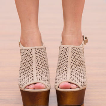 Woodn't You Know It Wedge, Taupe