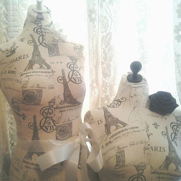 Paris Boutique Dress form and bust to waist set Life size torso great store front or home decor Paris linen Bust forms Great Holiday Sale