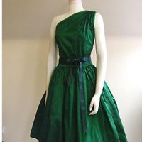 Emerald Silk Cocktail Dress Made to Order by makemeadress on Etsy