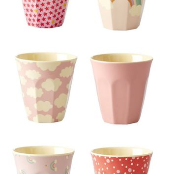 Pretty in Pink Pastel Small Melamine Cup Set by Rice