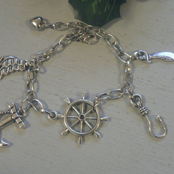Captain Hook Charm  Bracelet  Chain Link Bracelet Once Upon A Time Inspired Killian Jones