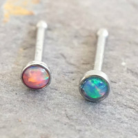 Pink and Blue Fire Opal Nose Bone Ring Stud