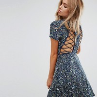 Boohoo Lace Up Back Detail Skater Dress at asos.com