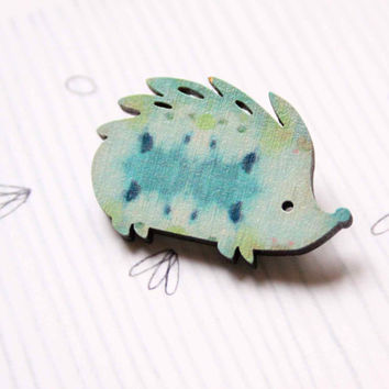 Hedgehog Brooch in blue and green colors - Woody collection - collaboration with Belinda Marshall