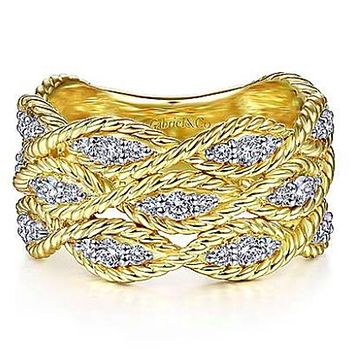 Gabriel Gold Twisted Braided Wide Diamond Band Ring