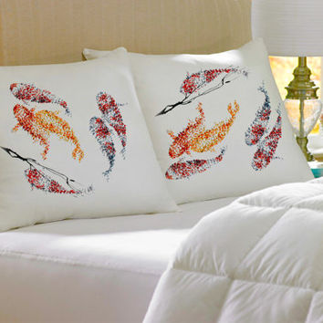 2 Colorful Decorative Fish silk cotton Pillow case pillow cover pillowcase cushion handmade koby feldmos 18X18 inch 20X30 inch white color