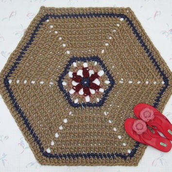 Hexagonal Jute Rug - Crochet Jute Rug - Natural Fiber Rug - Six Sided Rug - Red & Blue Throw Rug - Hypoallergenic - Hippie Rug - Soft Mat