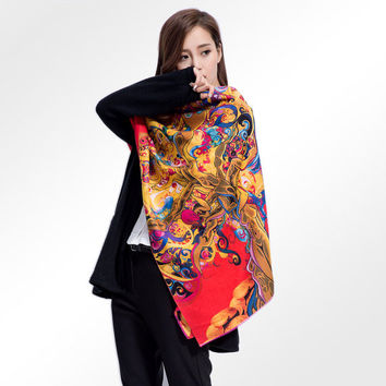MAC&LOU Cashmere and Silk Scarf Oversized Long Large Shawl Stole Wrap Women Tree Colorful Print Elegant Red