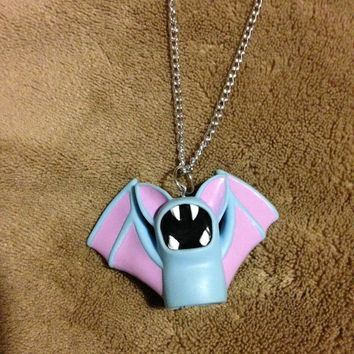 Vintage Zubat Bandai Pokemon Lightweight Hollow Necklace or Keychain Handmade Chain Raver Charm Cute