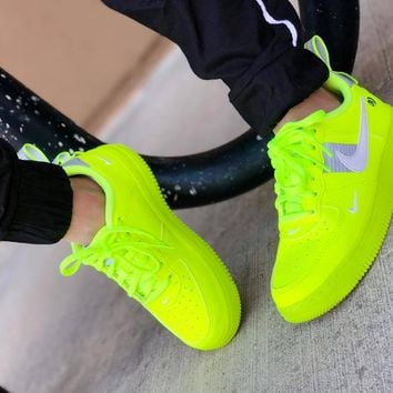 Nike Air Force 1 Fluorescent Green Couple Sports Shoes