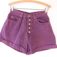 vintage denim shorts / Purple jean shorts / high waist button fly shorts