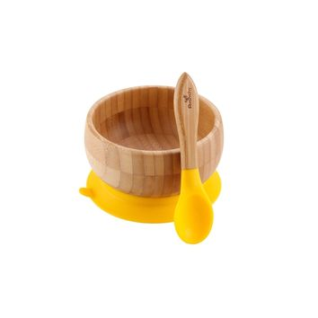 Yellow Avanchy Bamboo Suction Baby Bowl + Spoon
