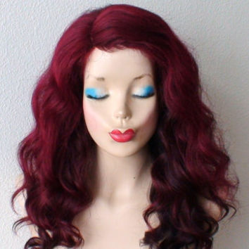 Human hair / Premium hair blend wig.  Wine red /burgundy Ombre colored wig. Medium length wavy hairstyle  red color hair wig.
