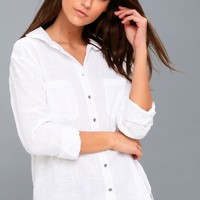 Easy Moves White Long Sleeve Button-Up Top