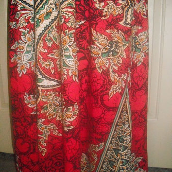 Medium RED KAFTAN coverup dress robe gown slouchy boho oversized moroccan floral print pattern batwing ethnic drape hippie