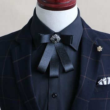 Mens Bowtie For Party Suit Banquet Shirt Collar Bow Ties Uniform Women Double Ribbon Bow Knots Necktie