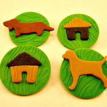 Puppy Party! set of 12 (one dozen) 3 of each pattern. Fondant Cupcake, Cake, Cookie Toppers.