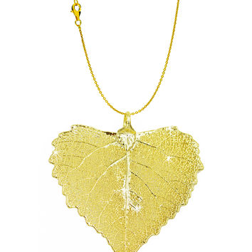 Real Leaf PENDANT with Chain COTTONWOOD Dipped in 24K Yellow Gold Necklace