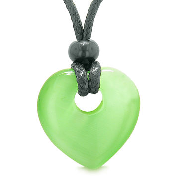 Amulet Lucky Heart Donut Shaped Charm Neon Green Simulated Cats Eye Pendant Magic Powers Necklace