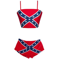 Rebel Flag Women's Tank Bikini Set