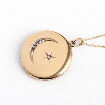 Antique Moon Locket - Vintage Edwardian Star Crescent Rhinestone Pendant Necklace - 12k Rosy Yellow Gold Filled Statement Celestial Jewelry