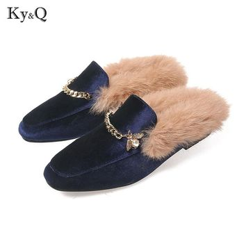 Winter Mules Fur Metal Chain Women Slippers Sexy 3 Color Leather Pointed Toe Woman Flat Slippers Shoes