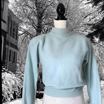 Vintage Lambswool Angora Sweater Baby Blue with White Pearls Long Sleeves and Shoulder Pads