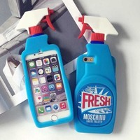 3D Fresh Spray Cleaner Bottle Soft Silicone Phone Case Back Cover