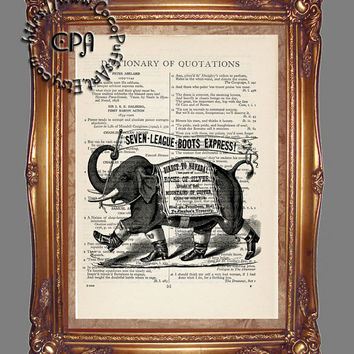Elephant Wearing Men's Boots Advertisement Art - Vintage Dictionary Page Art Print Upcycled Page Print