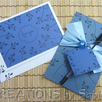 Handmade Stationery Set Blue Stamped Notepad & Card with pen and glass heart charm by CREATIONSbySabine