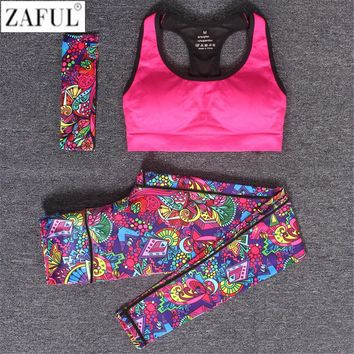 ZAFUL Women Sport Yoga Set Gym Running Sport Suit Elasticity Fitness Clothing Workout Sport Wear Sports Bra+Print Pants+Bandeau