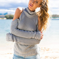 Turtle Neck Shoulder Cutout Long Sleeve Knit Sweater