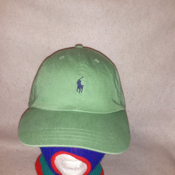 4a85bf76732 Vintage 90s Green Polo Ralph Lauren Leather Strapback hat Blue Horse cap  Preppy Dope polo sport