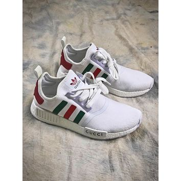 Gucci X Adidas Nmd R 1 Boost White Sport Running Shoes - Sale