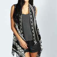 Blake Aztec Tassel Waterfall Sleeveless Cardigan