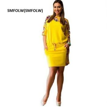 SMFOLW(SMFOLW) Big size 6XL  Fat MM Woman Summer Dress Elegant Loose dresses plus size women clothing 6xl self portrait dress