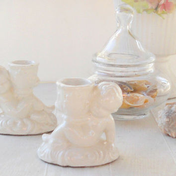 Vintage Cherub Candle Holders, Set of 2, Shabby Chic, Cottage Style, Wedding, Housewarming Gift Inspired, Beach Cottage