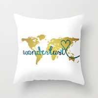 Wanderlust Pillow, Faux Gold Foil World Map Pillow, Glitter Inspirational Quote, Word Art, World Map Art, Throw Accent Pillows Outdoor
